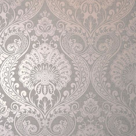 Arthouse Grey/ Dusky Rose Metallic Wallpaper
