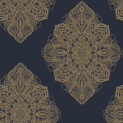 Arthouse Henna Navy Blue Gold Damask Wallpaper Metallic Shimmer Ornamental