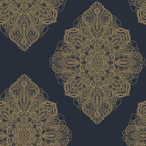 Arthouse Henna Navy/ Gold Wallpaper
