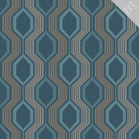 Arthouse Hexagon Petrol Blue Wallpaper