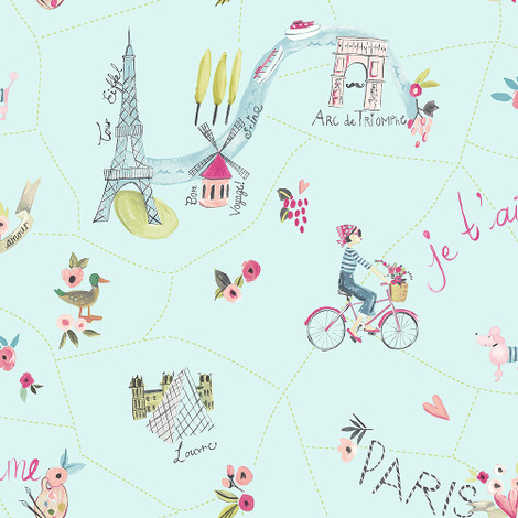 Arthouse Imagine Fun Wallpaper Paris with Love Duck Egg 696104