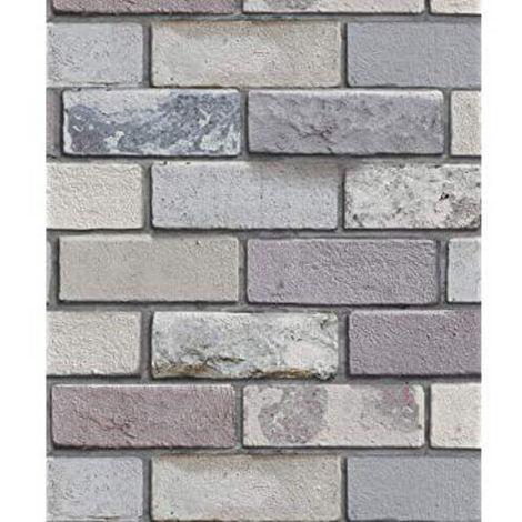 Arthouse Industrial Brick Wallpaper Grey 698800 Full Roll