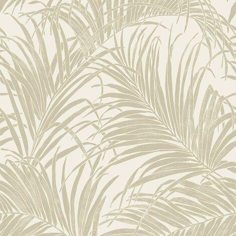 Arthouse Kiss Palm Leaf Foil Metallic Shimmer Effect Wallpaper Cream/Gold 903201