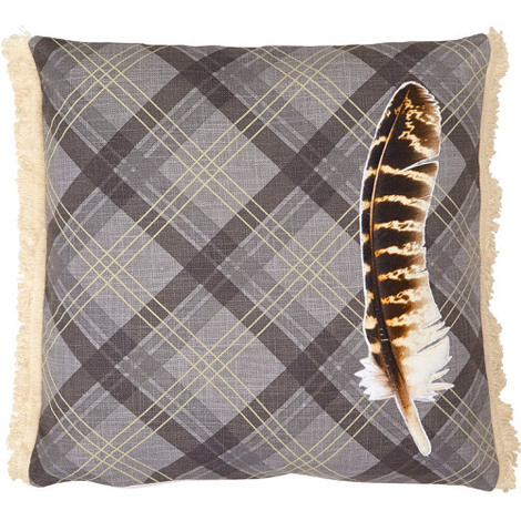 Arthouse Lochs & Lagoons Embroidered Cushion Charcoal Feather