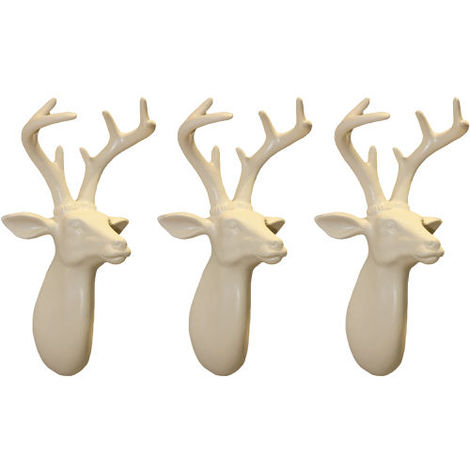 Arthouse Lochs & Lagoons Stags Heads Cream Set of 3