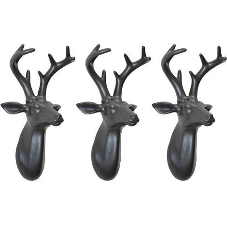 Arthouse Lochs & Lagoons Stags Heads Dark Grey Set of 3