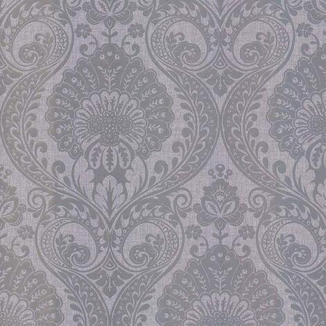 Arthouse Luxe Damask Metallic Glitte Shimmer Textured Wallpaper - Silver 906609