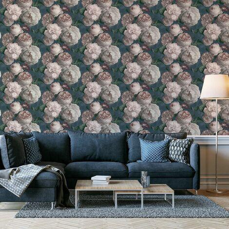Arthouse Luxury Highgrove Floral Bloom Vintage Teal Blush Cream Wallpaper