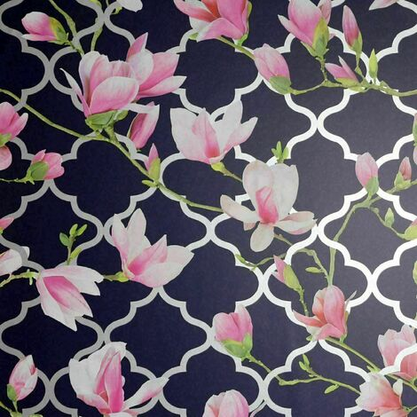 Arthouse Magnolia Trellis Navy Blue Pink Floral Metallic Silver Arthouse Wallpaper