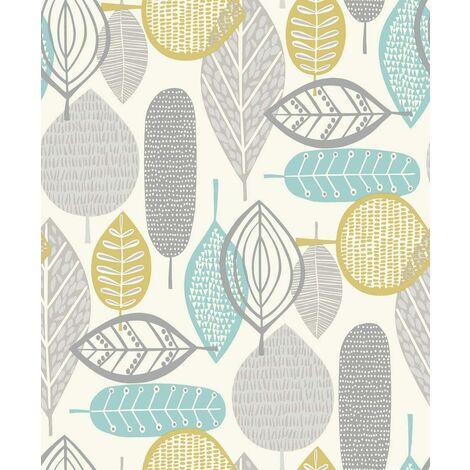 Arthouse Malmo Retro Nature Leaf Design Wallpaper - Teal 902302