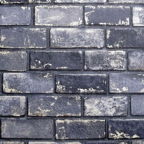 Arthouse Metallic Brick Effect Navy ArtiStick Peel And Stick Wallpaper Vinyl
