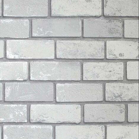 Arthouse Metallic Brick Effect White ArtiStick Peel And Stick Wallpaper Vinyl