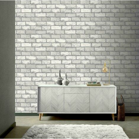 Arthouse Metallic Brick Silver White 692201