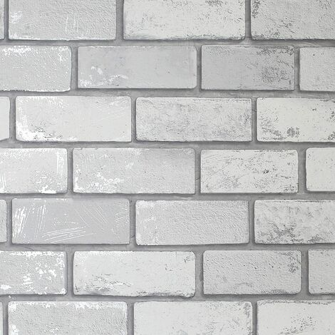 Arthouse Metallic Brick White / Silver 692201 Wallpaper