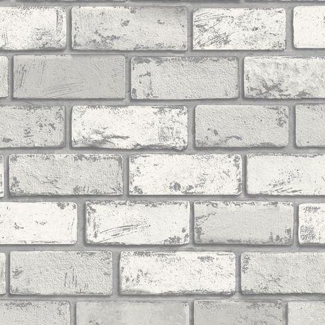 Arthouse Metallic Brick White/ Silver Wallpaper