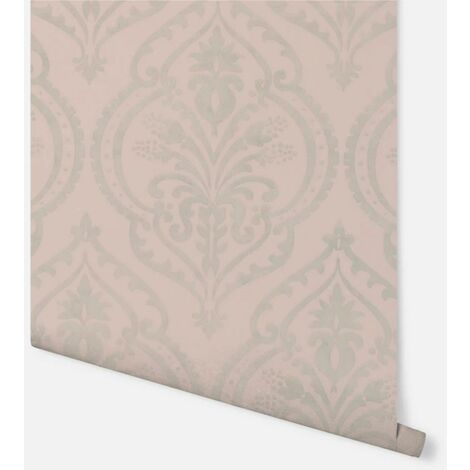 Arthouse Moroccan Damask Blush And Silver Wallpaper Textured Vinyl .