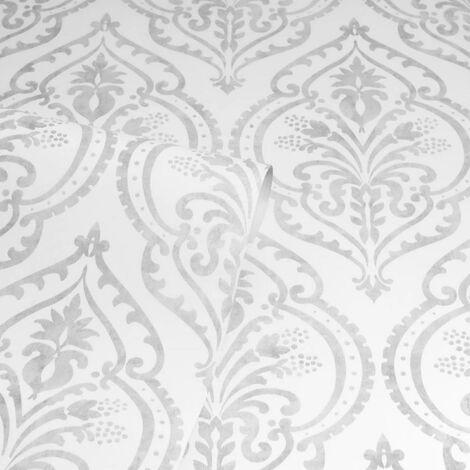 Arthouse Moroccan Damask White/Silver Wallpaper Heavy Duty Vinyl