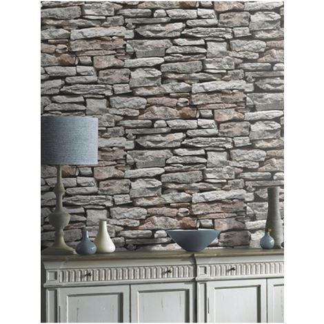Arthouse Natural Wall Rustic Grey bronze Slate Stone Brick Feature Wallpaper