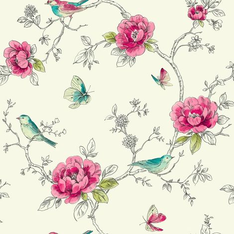 Arthouse Opera Adorn Red/ Teal Floral Wallpaper