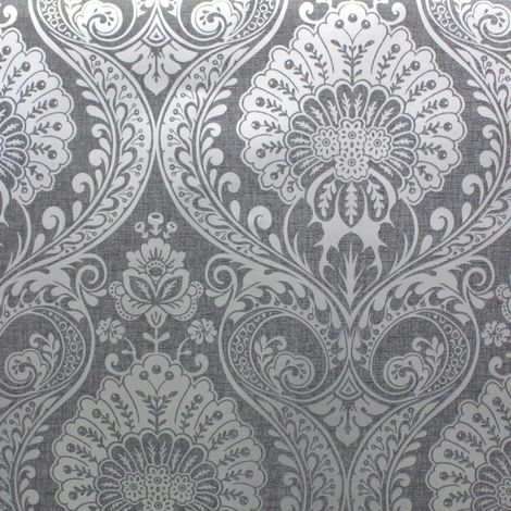 Arthouse Opera Wallpaper Decoris Damask Gunmetal Silver 910307