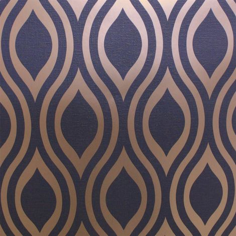 Arthouse Opera Wallpaper Lux Ogee Navy Gold 910203