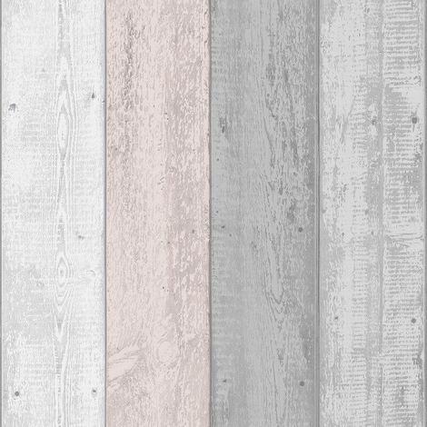 Arthouse Painted Wood Grey & Blush Wallpaper