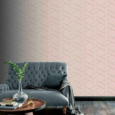 Arthouse Parquet Geo Pink Rose Gold Metallic Abstract Geometric Wallpaper 695500