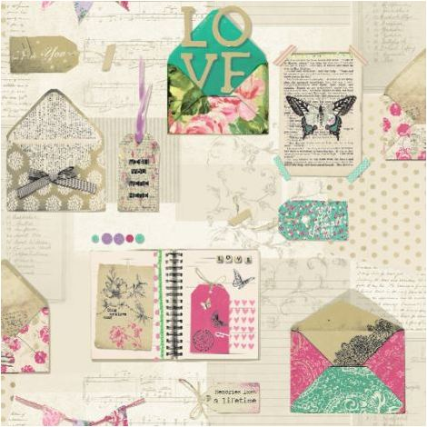 Arthouse PS I Love you Green Cream Green Pink wallpaper