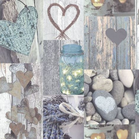 Arthouse Rustic Wood Heart Beach Collage Natural Shabby Chic Pictures Wallpaper