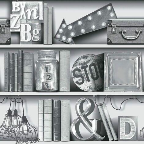 Arthouse, Upcycle Bookshelf Wallpaper, Mono Black and White