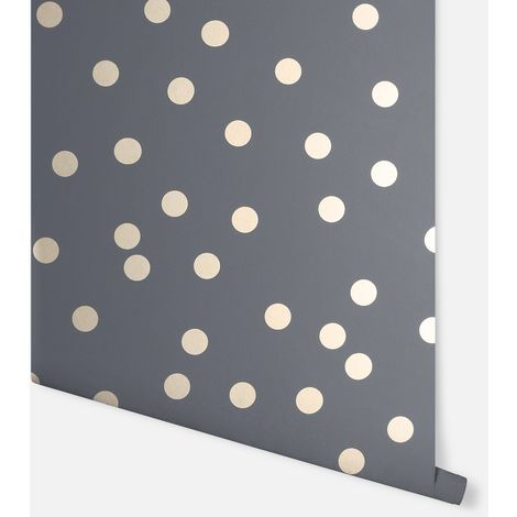 Arthouse Wallpaper Dotty Charcoal Rose Gold 685001