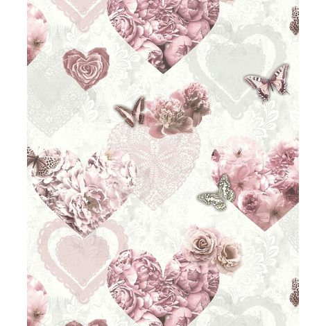 Arthouse Wallpaper Floral Hearts Pink & White 692802