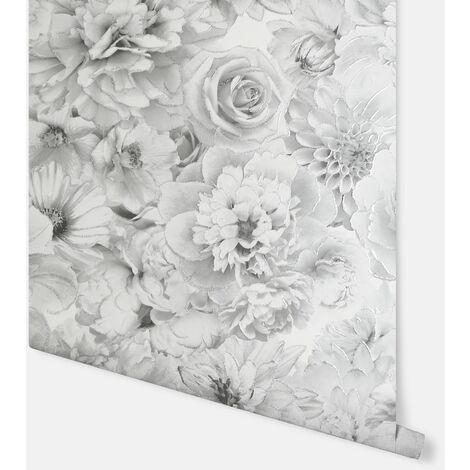 Arthouse Wallpaper Glitter Bloom Silver 692803