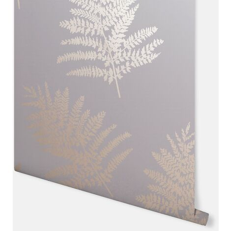 Arthouse Wallpaper Metallic Fern Charcoal Rose Gold 687001