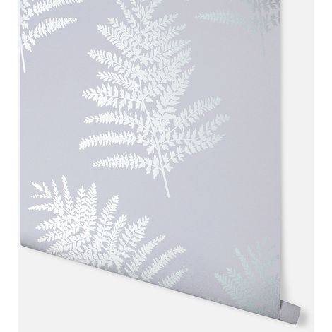 Arthouse Wallpaper Metallic Fern Silver 687002