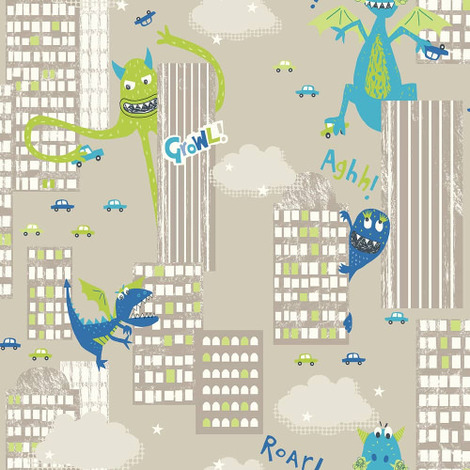 Arthouse Wallpaper Monster Mad Green 667700