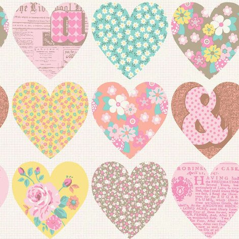 Arthouse Wallpaper Patchwork Heart Pastel 668500