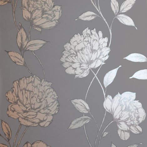 Arthouse Wallpaper Pretty Floral Charcoal Rose Gold 688001