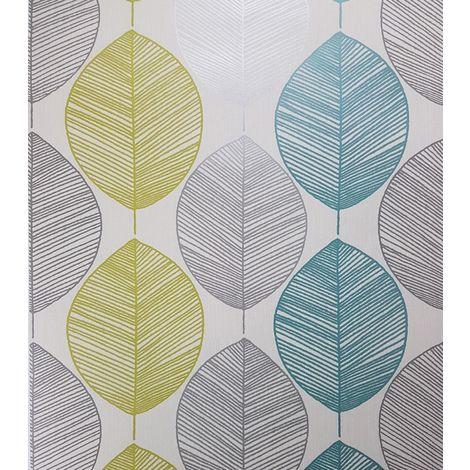 Arthouse Wallpaper Retro Leaf Teal 408207