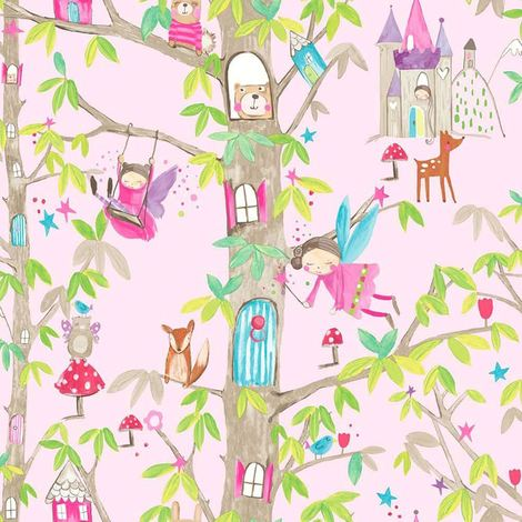 Arthouse Wallpaper Woodland Fairies Pink 667000
