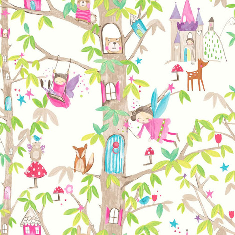 Arthouse Wallpaper Woodland Fairies White 667001
