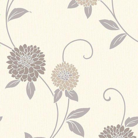 Arthouse Zara Neutral Floral Wallpaper Flowers Cream Beige Silver Metallic Vinyl