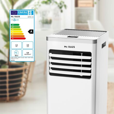 ARTIC-12 - Aire acondicionado portatil y enfriador movil de 7000 BTU/h, 1765 frigorias, 2,05kW, clase A, 3 en 1: refrigerador, ventilador y deshumidificador, con mando a distancia, ideal para espacios entre 20-30m²