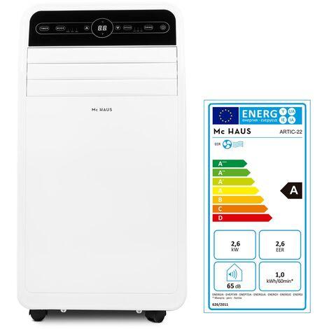 ARTIC-22 - Climatiseur mobile de 9000 BTU/h, 2268 frigories, 2,6kW, classe A, 3 en 1: glaciere, ventilateur et deshumidificateur, avec telecommande, espaces entre 25-35m²