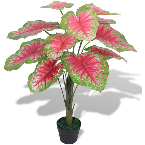 Artificial Caladium Plant with Pot 70 cm Green and Red