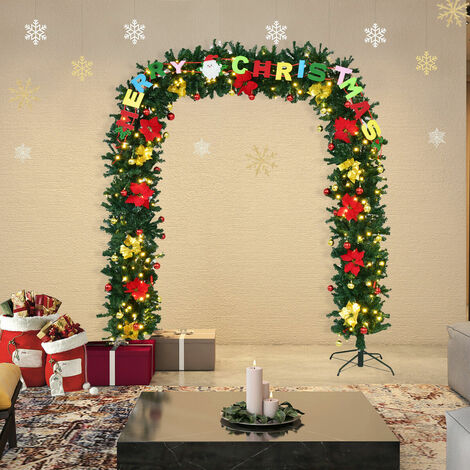 Artificial Christmas Tree Arch Green PVC Decoration LED Light Luxury Xmas Arches 228x203cm