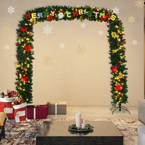 Artificial Christmas Tree Arch Green PVC Decoration LED Light Luxury Xmas Arches 274x243cm