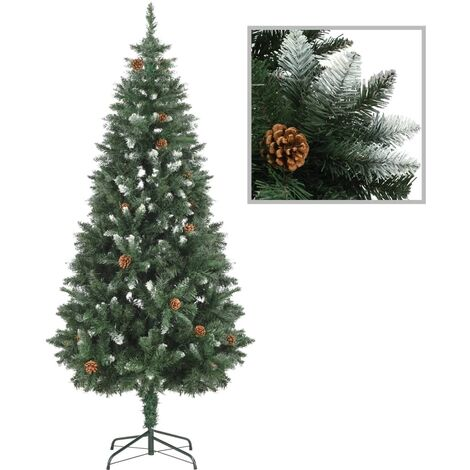 Artificial Christmas Tree with Pine Cones and White Glitter 180 cm