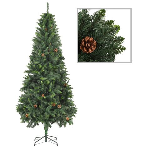 Artificial Christmas Tree with Pine Cones Green 210 cm