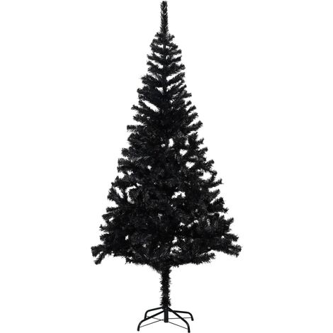 Artificial Christmas Tree with Stand Black 213 cm PVC